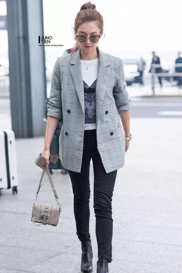 江疏影演绎西装+牛仔裤搭配Look-秘笈 时髦扮酷两不误,西装 牛仔裤图片