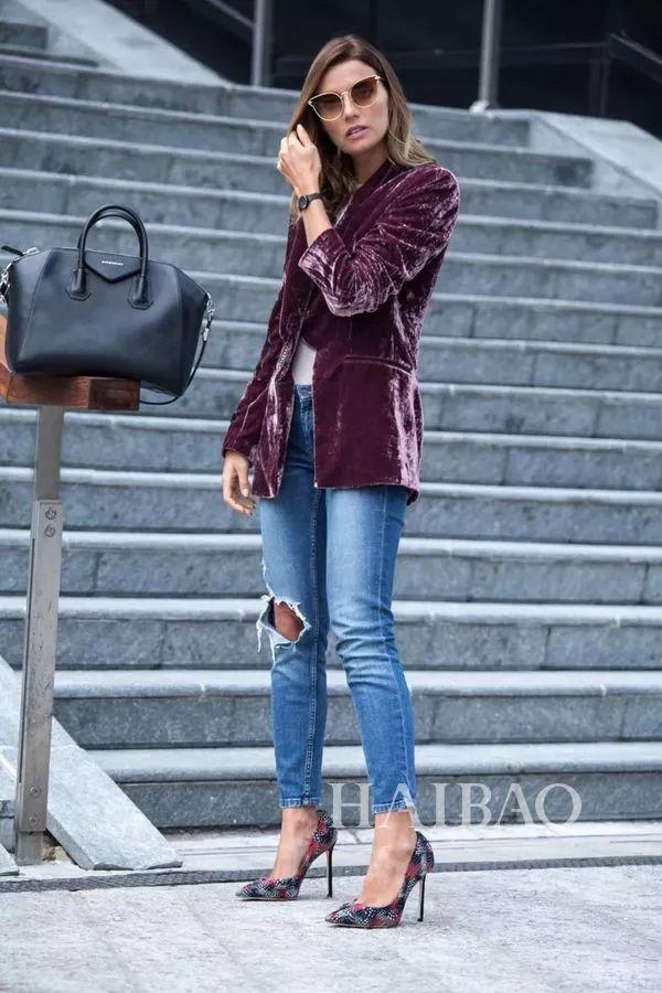 春季西装+牛仔裤搭配Look-秘笈 时髦扮酷两不误,西装 牛仔裤入春时图片