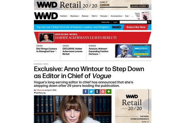 Vogue主编Anna Wintour要离任?女魔头们都干不下去了?