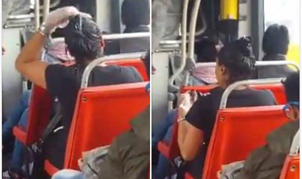 怪诞!哥伦比亚一女子乘公交车时为自己染发