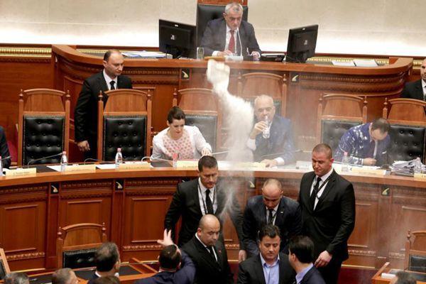 阿尔巴尼亚议会现骚乱 反对派向总理扔面粉
