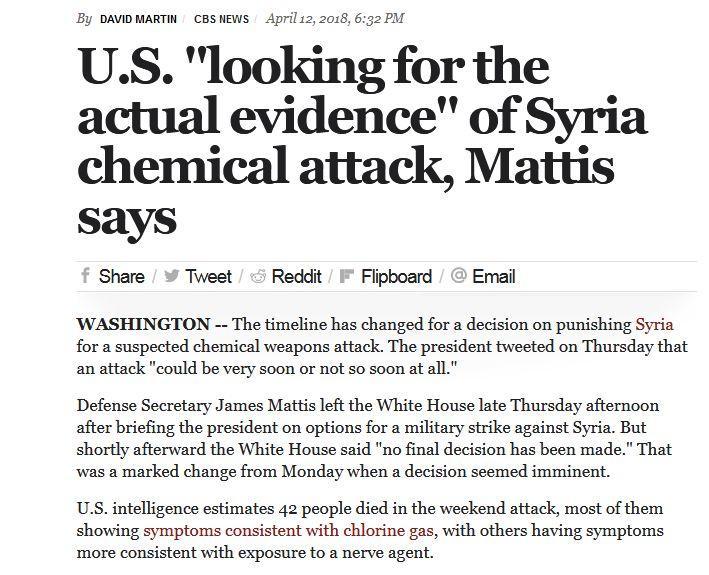 真发生了化武袭击?叙政府军干的?美防长:呃......实锤还在找呢!