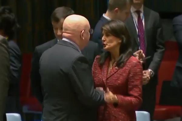 """视频 美对叙军事行动4天前,俄美驻联合国代表""""亲吻""""和""""拥抱"""""""