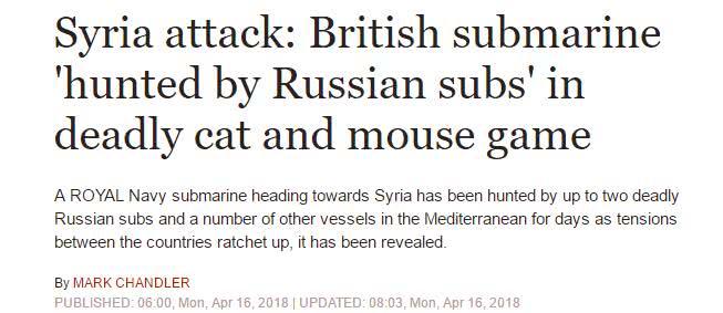 英军潜艇对叙空袭被俄围猎 憋着战斧导弹射不出