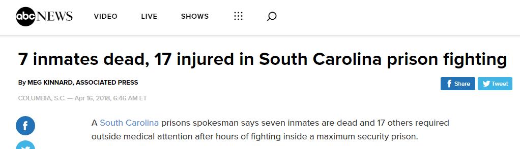 美国南卡罗来纳州一所监狱发生暴乱 7死17伤