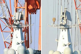 国产航母顶板雷达转动 有可能正测试内部系统
