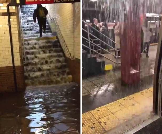 纽约大暴雨导致水漫地铁站 上下台阶如瀑布