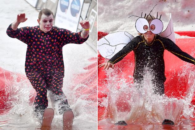 白俄罗斯趣味滑雪赛 参赛者奇装异服搞笑上阵