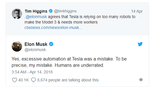 """马斯克替换特斯拉工厂机器人 称""""人类被低估"""""""