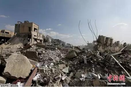 叙利亚大马士革科学研究中心已沦为一片废墟。