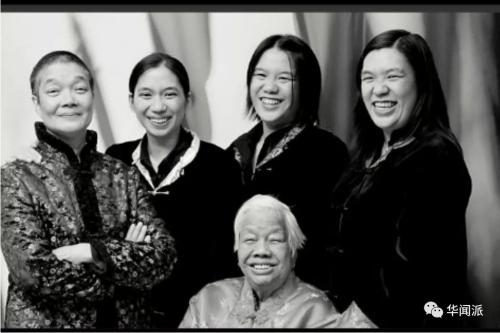 (从左至右)母亲Mable、妹妹、外婆Lily(前排)和谢氏两姐妹。(英国《华闻周刊》微信公众号 资料图)