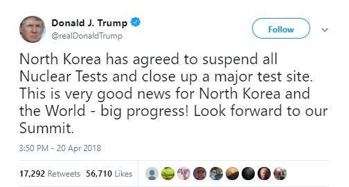 特朗普不但第一时间发推,还……