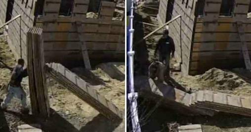 美建筑工人拿木板不料被倒塌木板堆砸中压身