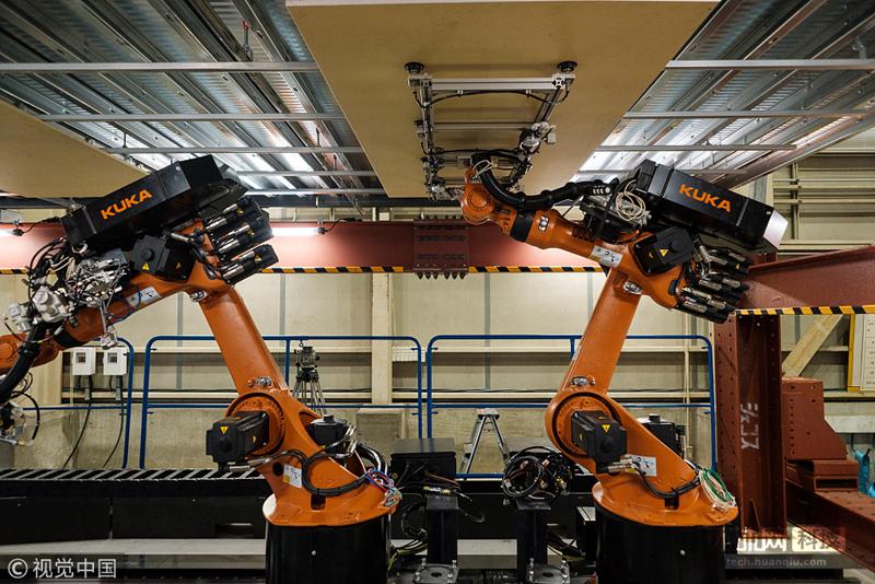 日本一公司展示施工机器人 应对未来劳动力短缺