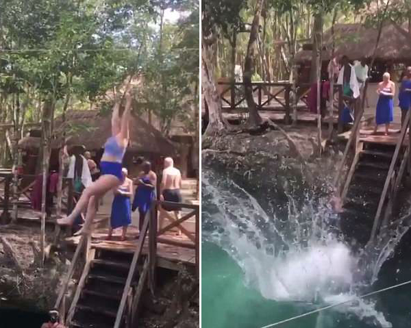 女游客欲吊飞索飞渡水池却以滑稽落水收场