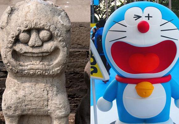 """太原文庙石狮成网红 被戏称哆啦A梦""""始祖"""""""