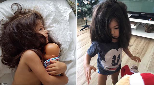 澳两岁女童满头稠密秀发获模特公司签约