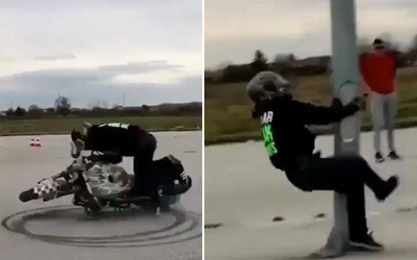 摩托车手炫技后眩晕撞柱 滑稽场面令众网友捧腹