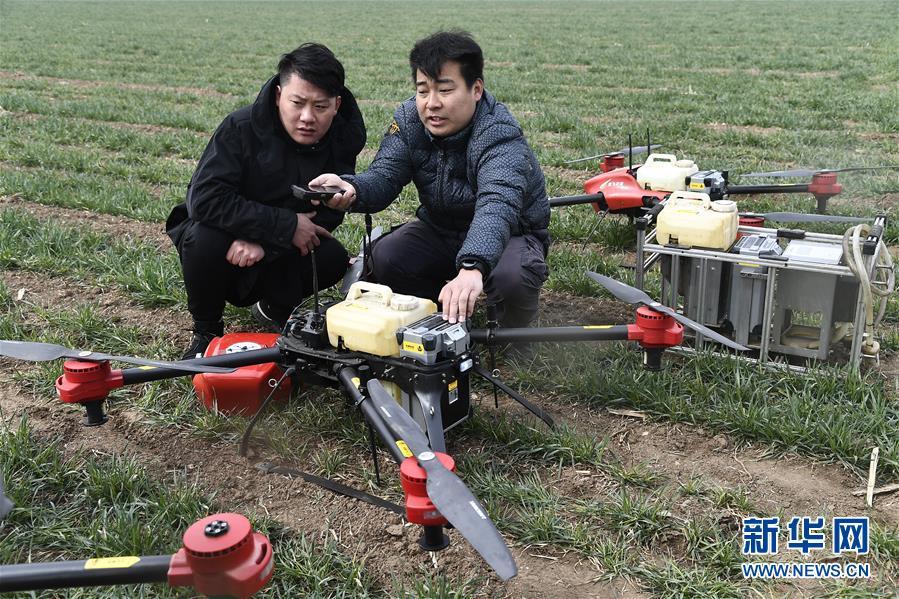 父辈背喷雾器打药 新农人用无人机喷药