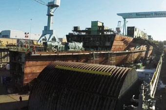 巨舰正在成形 美国福特级航母二号舰完工75%