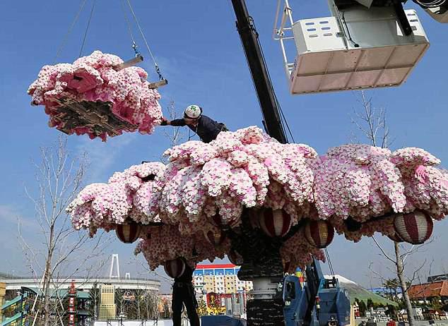 高4.8米樱花树亮相日本 由近90万块乐高积木拼成