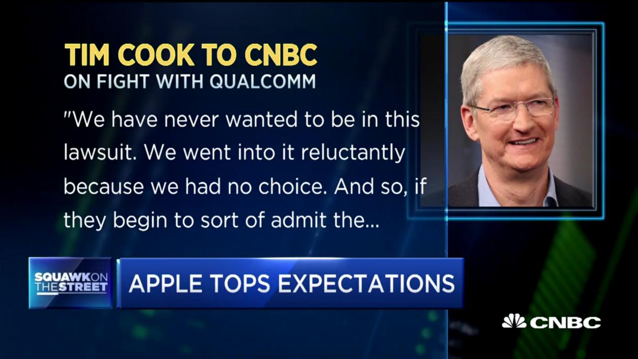苹果CEO库克:乐于通过其他途径解决与高通专利纠纷