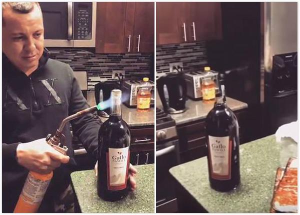 美男子用喷灯开红酒瓶 瓶颈炸裂瓶身完好无损