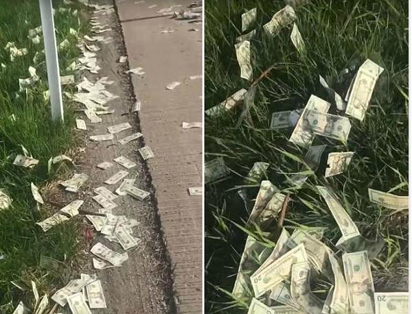 美运钞车高速公路撒数十万现金引哄抢