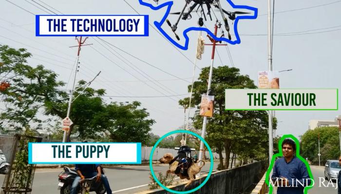 暖心:印度工程师打造无人机营救被困小狗