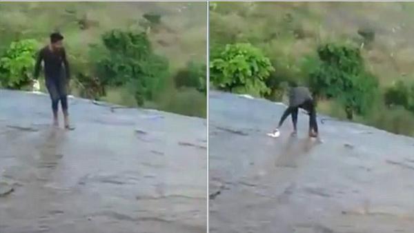 印度一男子河中自拍不慎滑倒跌落瀑布险些丧命