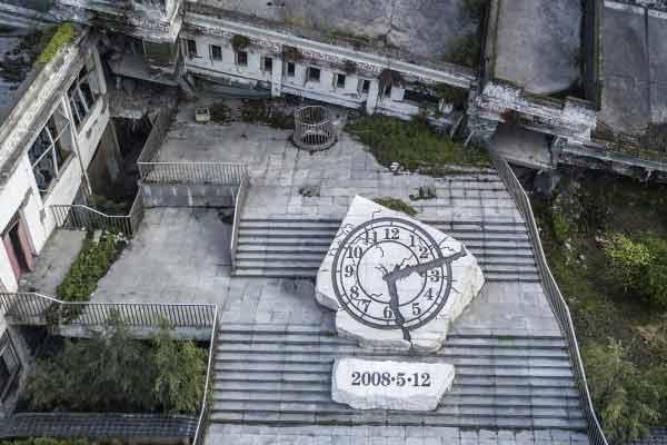 汶川地震十年 航拍映秀遗址新貌