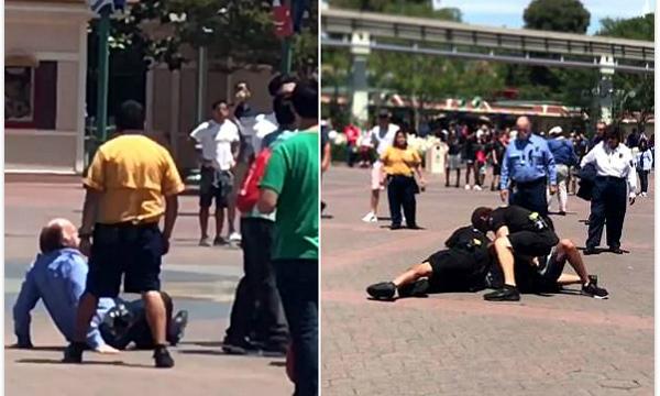 美一疑似吸毒男子迪士尼殴打保安后被警察制伏