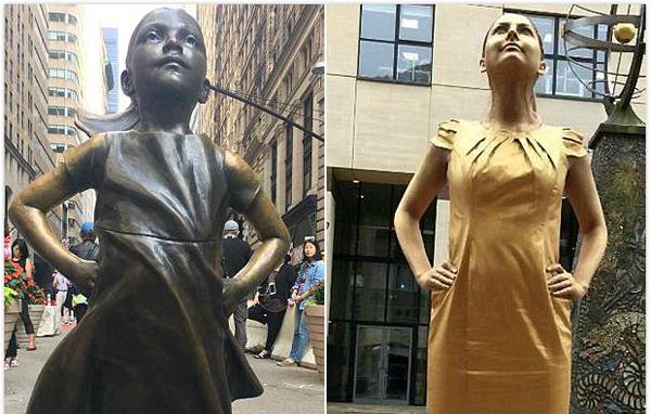 """美女生广告公司外扮著名雕塑""""无畏女孩"""" 获心仪工作"""