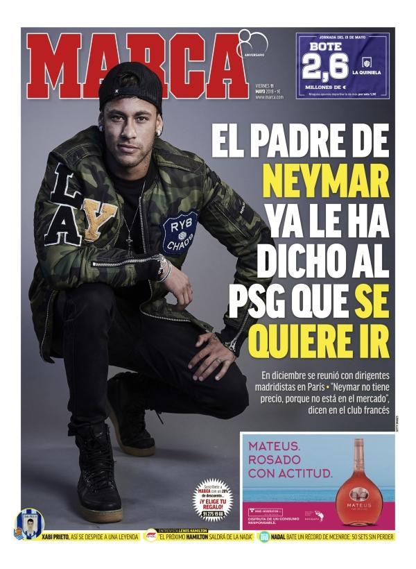内马尔已告知PSG队友想去皇马 内爹开始运作