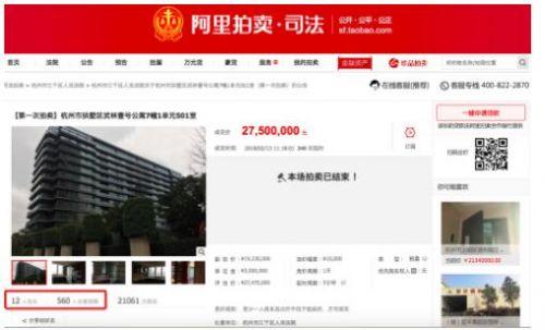 重庆一套房子拍卖溢价2400万元 56次竞价买家有10人