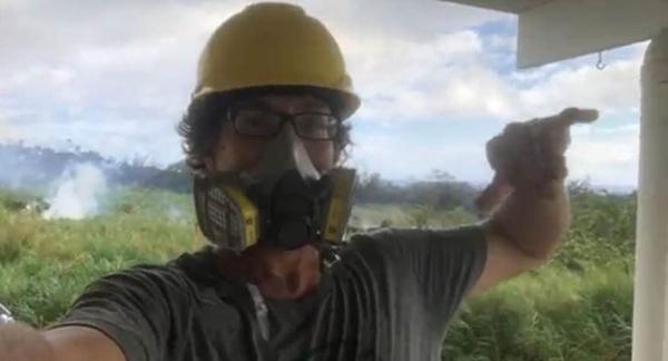 男子冒死直播夏威夷火山喷发 大块熔岩从天而降