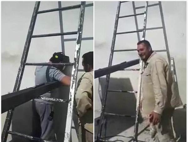 滑稽!西班牙工人焊接钢柱致梯子无法取出闹笑话