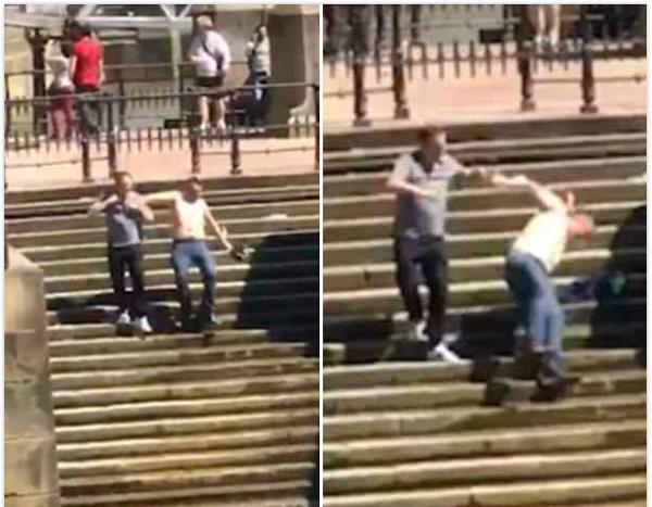 英男子河堤台阶上不慎滑倒掉进泰晤士河