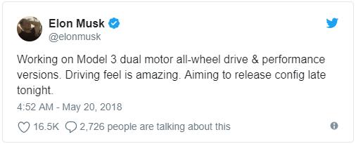 """马斯克称在开发两款新Model 3 驾驶感觉""""惊人"""""""