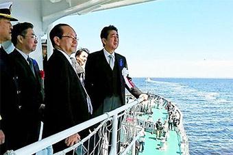 日本海上保安厅36艘海保船浩浩荡荡接受安倍检阅