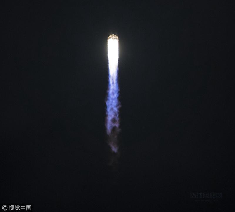 美国弗吉尼亚州沃洛普斯飞行基地,私人太空公司Orbital ATK发射其搭载天鹅座飞船的Antares火箭。