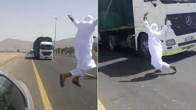 沙特一男子在迎面驶来卡车前耍特技被警方逮捕
