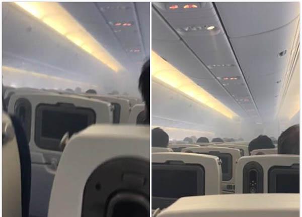 日客机起飞前舱内浓烟滚滚吓坏众旅客