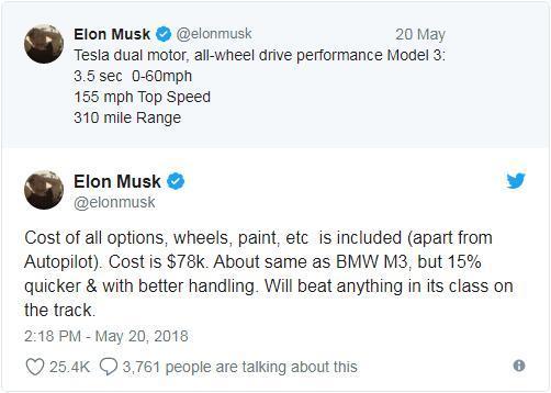 马斯克宣布特斯拉Model 3双电机四驱版本将开售