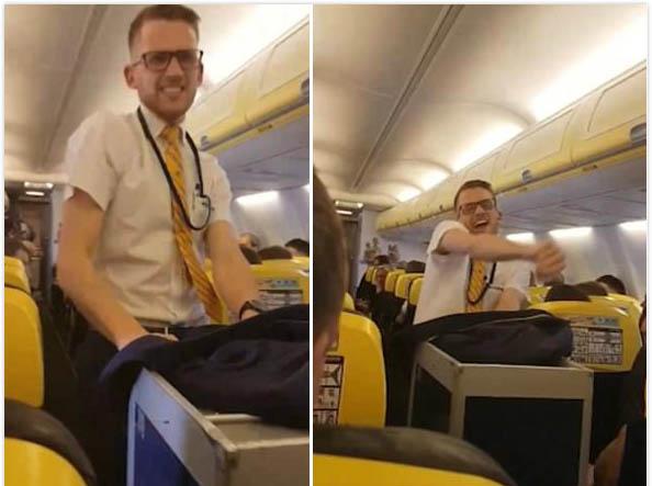 瑞安航空男乘务员客舱即兴跳舞走红网络