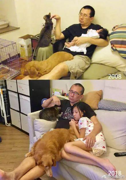 """这对父女10年""""沙发躺""""感动万千网友!陪伴是最长情的告白……"""