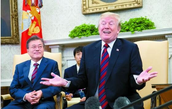 """北京赛车最新赢钱技巧:记者会上特朗普将文在寅""""晾在一边""""还说了""""失礼的话""""?"""