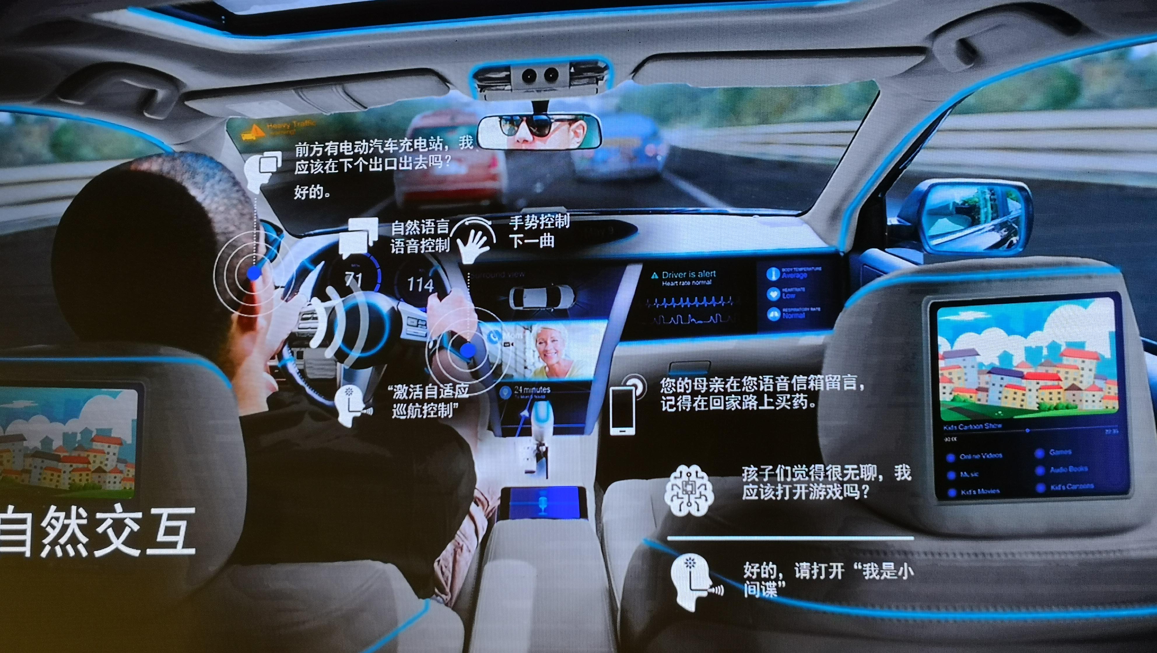 高通更展示了其在出行领域、无人驾驶的应用。在未来,人工智能将能理解情境,提供路况分析、主动告知附近的电动汽车充电站,驾驶人可以手势更换歌曲。图片展示了未来人机自然交互的各种情境。