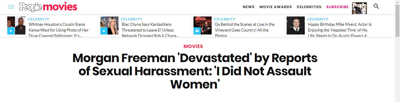 摩根·弗里曼发表新声明否认性骚扰指控:80年人生毁于一旦