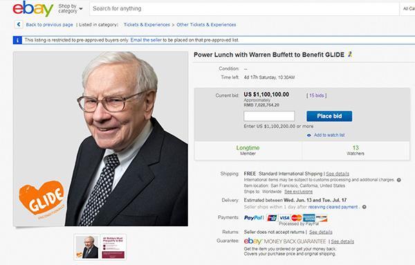 巴菲特慈善午餐开拍:4小时4人竞拍,叫价已超百万美元